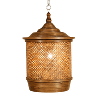 Chinese style chandelier bamboo weave creative pastoral restaurant hotel bedroom balcony teahouse lantern tatami chandelier