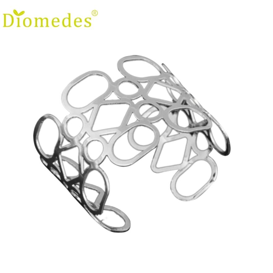 Diomedes 1PC Fashion Europe irregular pierced graphic Metal Bracelet Charm Leather Casual Bracelet #0222
