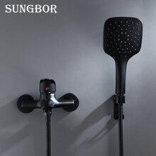 Черный латунный Смеситель для ванной комнаты, смеситель для ванны, смеситель с ручной насадкой для душа, набор, настенный черный душевой набор для ванной комнаты KD2030