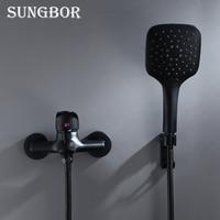 Black Brass Bathroom Shower Faucet Bath Faucet Mixer Tap With Hand Shower Head Set Wall Mounted Black Shower Set Bathroom KD2030