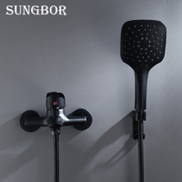 Black Brass Bathroom Shower Faucet Bath Faucet Mixer Tap With Hand Shower Head Set Wall Mounted Black Shower Set Bathroom KD2030