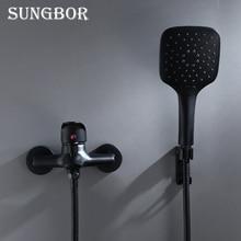 Schwarz Messing Bad Dusche Wasserhahn Bad Wasserhahn Mischbatterie Mit Hand Dusche Kopf Set Wand Montiert Schwarz Dusche Set Bad KD2030