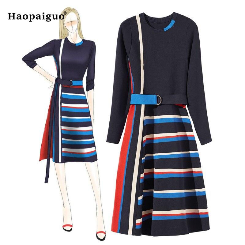 2018 automne tricot coton femmes robe o cou trois quart rayé a ligne élégante robe femmes avec ceintures hiver robe dames-in Robes from Mode Femme et Accessoires    1