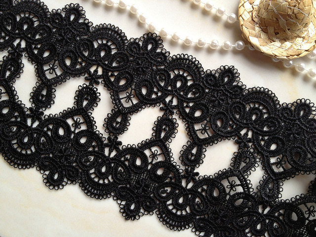 Black Lace Trim Retro Venice Lace Black Embroidery Lace Trim 2.55 inches  wide 2 yards