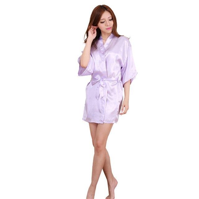 544acaa313 2016 New Light Purple Satin Bridesmaid Robes