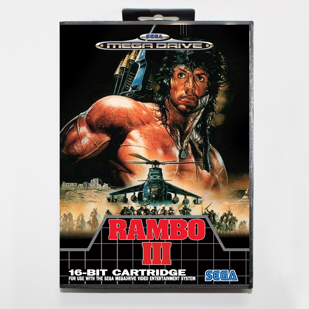 Rambo III 16 bit MD card with Retail box for Sega MegaDrive Video Game console system