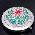 Nueva llegada creativa patrón creativo Rhinestone espejo bolsillo lateral doble compone la herramienta cosmética compacto de viaje espejo