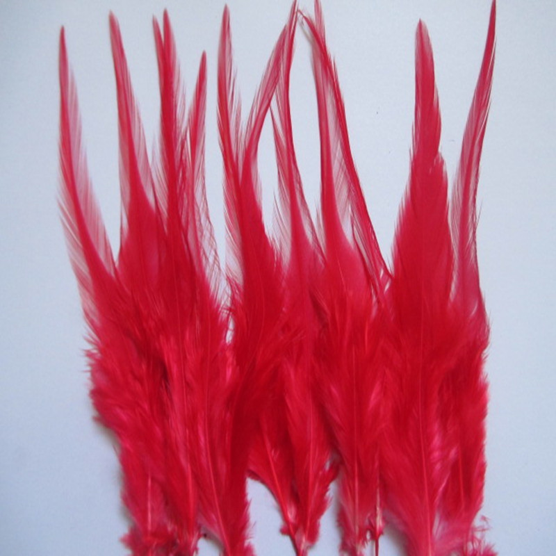 100 pcs  a lot of  10-15 cm red Cock Feather Feathers Stage Feather Decorative Accessories