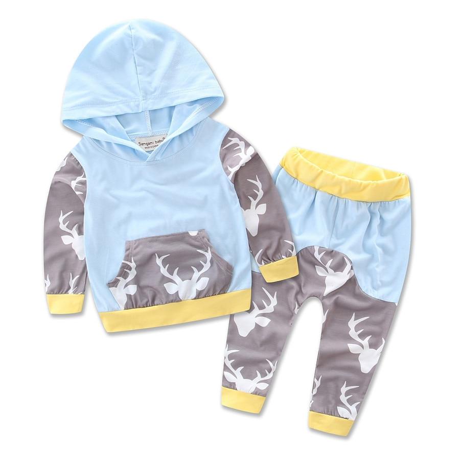 ec1708756390 Christmas Kids Baby Girls Boys Reindeer Hooded Tops +Pants Outfits ...