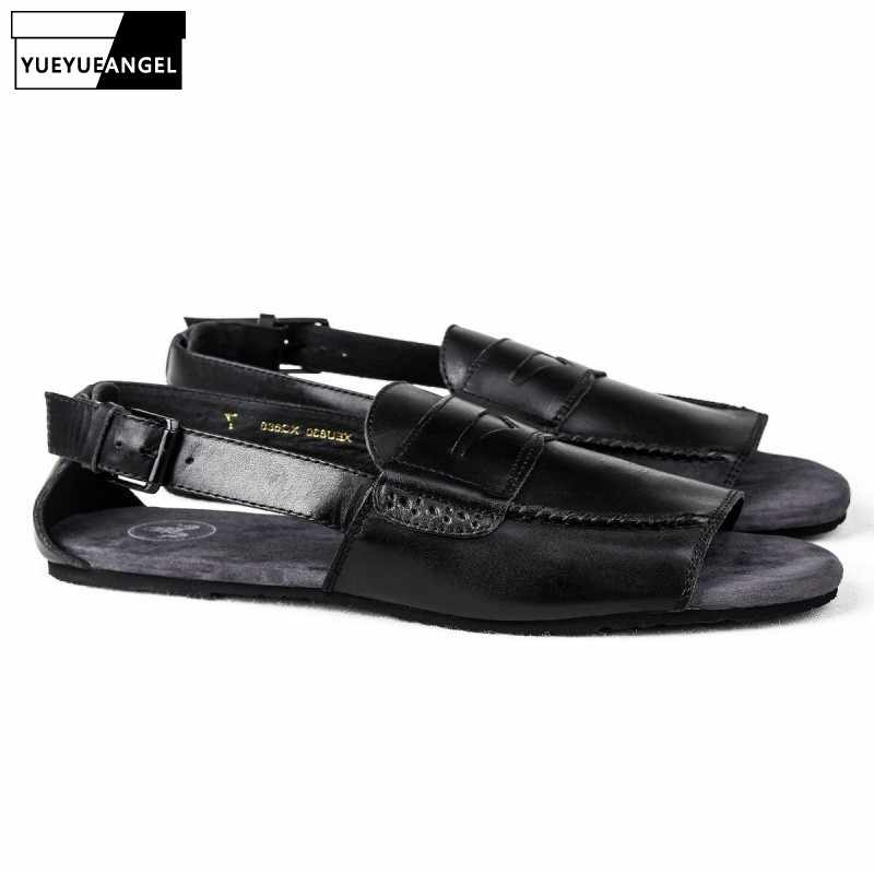 03430cb5abba2 Italian New Summer Buckle Strap Gladiator Sandals Men Genuine Leather  Casual Flats Shoes Beach Slippers Plus