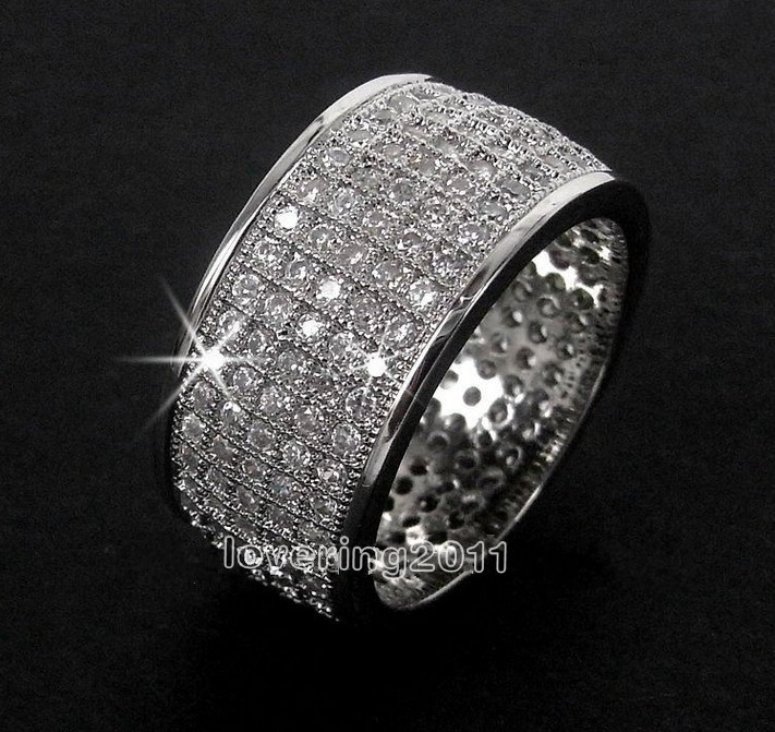 Choucong Full Pave Set 250pcs Stone 5a Zircon 10kt White Gold Filled Wedding Band Ring Sz 5 11 Free Shipping In Engagement Rings From Jewelry
