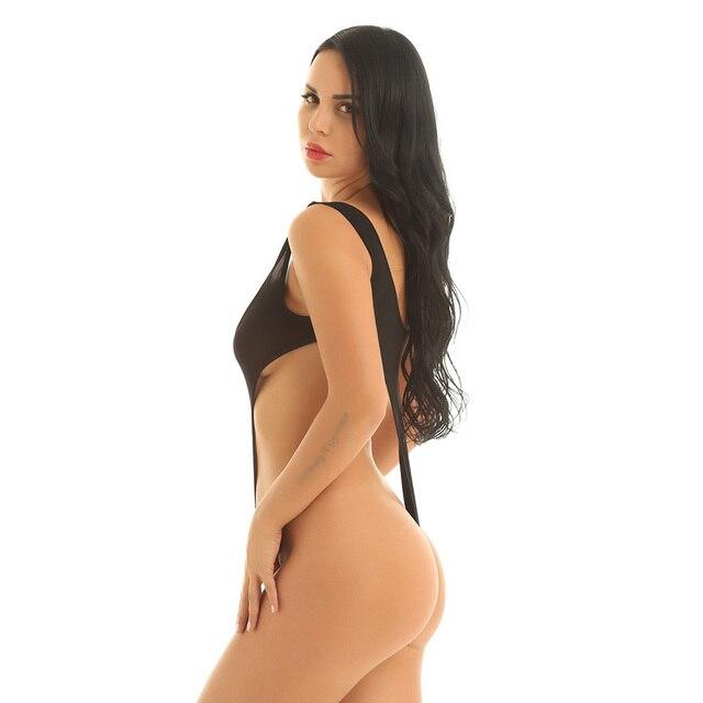 Sexy Einem Stück Badeanzug Frauen Weibliche Bademode High Cut Tanga Trikot Schwimmen Anzug Sehen Durch Dessous Tiefe Scoop Neck Bodysuit