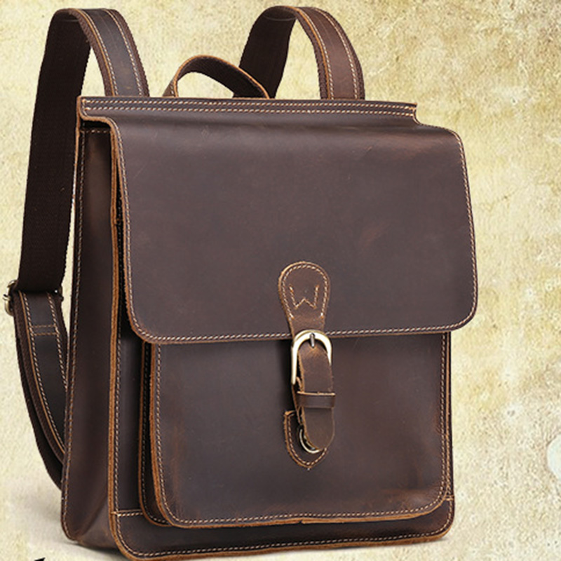High Quality Genuine Leather Men Women Backpack Vintage Knapsacks Travel Crazy Horse Cowhide Rucksack Unisex School