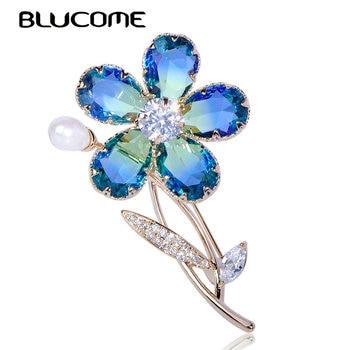 Blucome Luxe Plant Bloem Broche Zirkoon Koper Parel Crystal Sieraden Vrouwen Meisje Kleding Bruiloft Elegante Pin Accessoires Geschenken