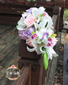 Bouquet De Mariee Blanc Rose Purple Wedding Bouquets Waterfall Artificial Wedding Flowers Bridal Bouquets Roze Bride Bouquets