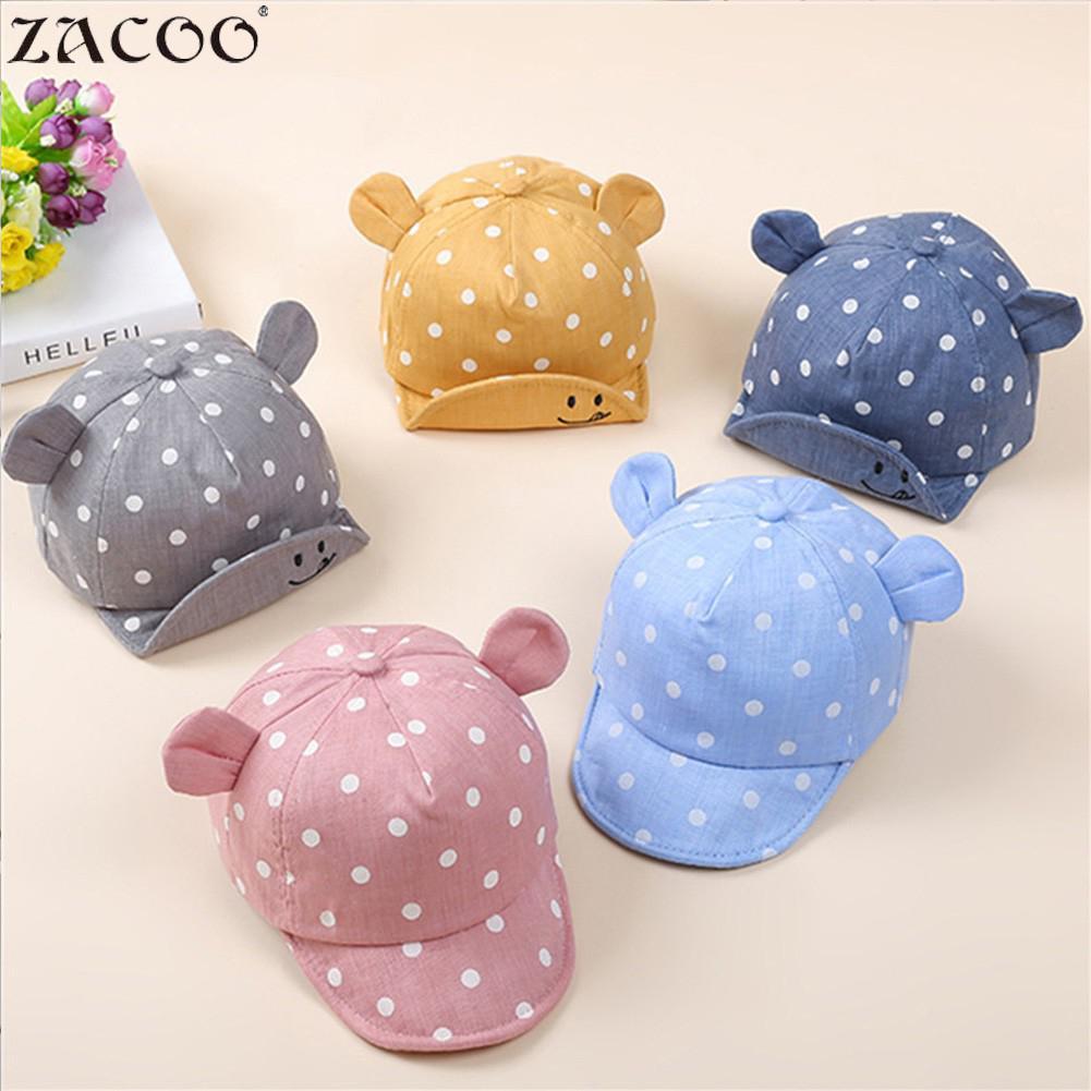 Zacoo Baby Flip Edge Hat Cotton Pot Pattern Cartoon Ear Design Baby Warm Hat Sunbonnet San0