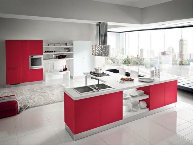 2017 Nuevo diseño de alto brillo lacado gabinetes de cocina de color ...