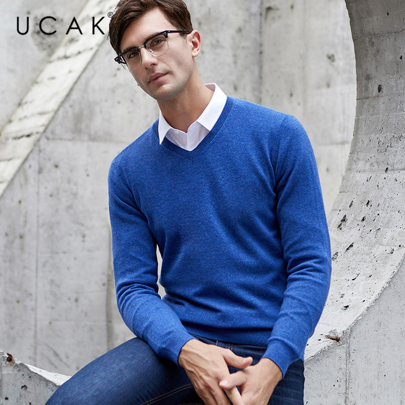 UCAK Brand Sweater Men Classic V-Neck Pull Homme Pure Merino Wool Pullover Men Autumn Winter Thick Warm Cashmere Sweaters U3014