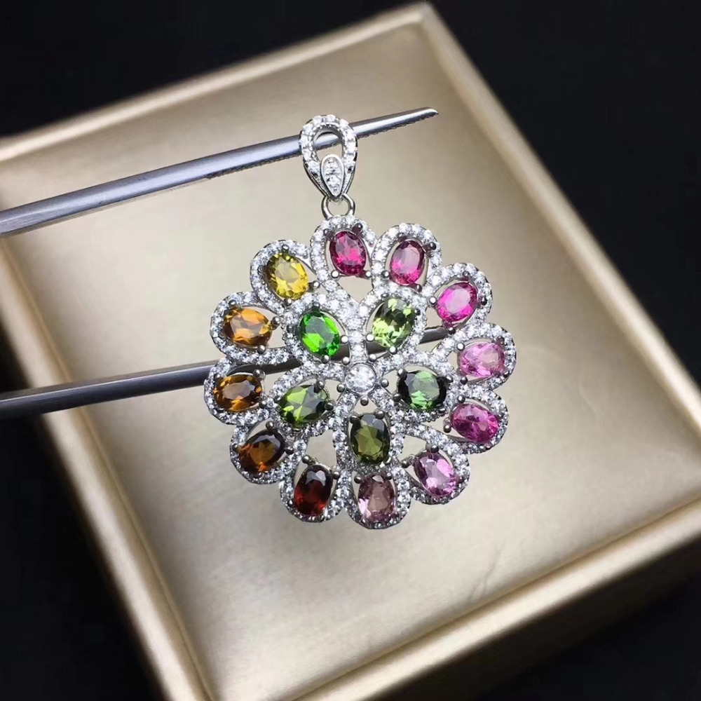 Natural Multicolor tourmaline pendant S925 silver Natural Gemstone Pendant Necklace Round Hydrangea women party fine jewelry