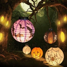 Halloween Decoration LED DRINK Light Pumpkin Hanging Paper Lantern Props Outdoor Party Supplies