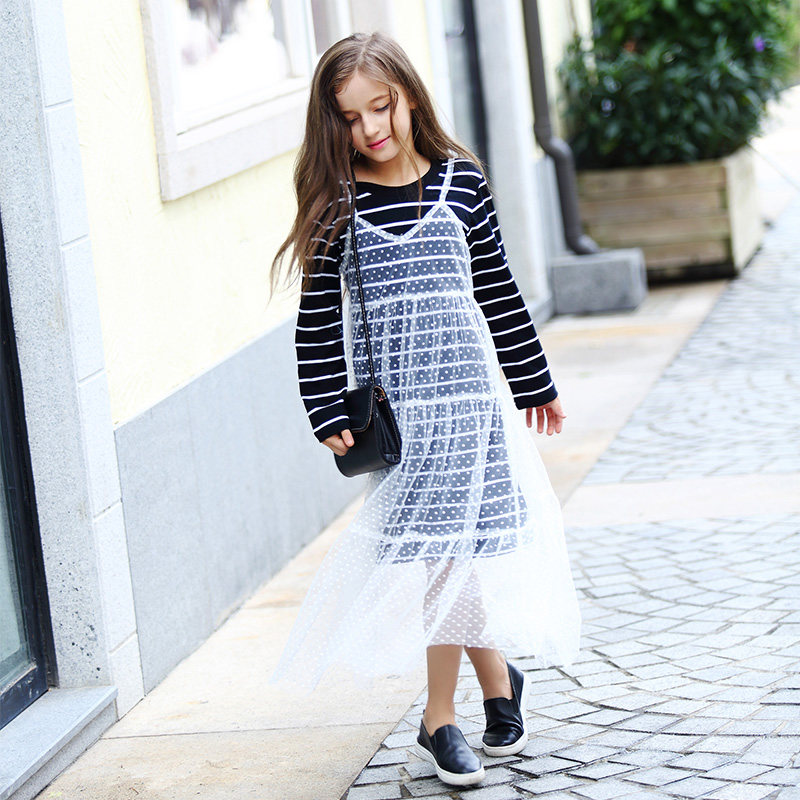 2016 Autumn Teen Girls Clothing Crochet Dress for School Girls Cotton Frock Design Kids for Age