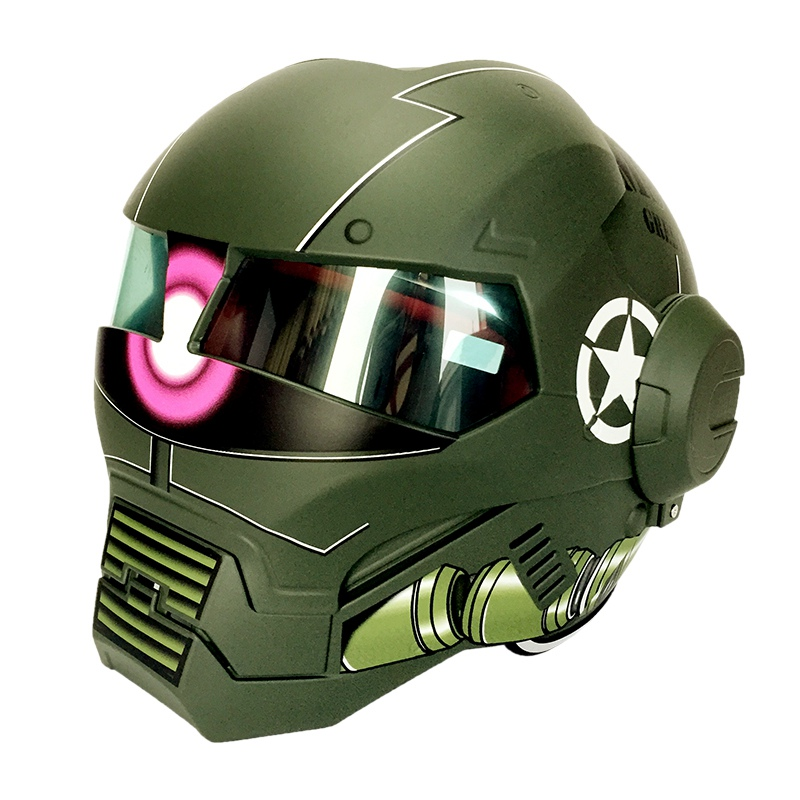 (1pc&2colors) 2017 Original Quality Army Green Brand Masei 610 Helmets Ironman Motorcycle Skull Open Face Helmet Casco Capacete
