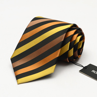 2017 NEW Brand Dress Tie Men's Business Professional Formal Ties 9CM Wide Gold and Black Striped Interview Necktie wish Gift BOX