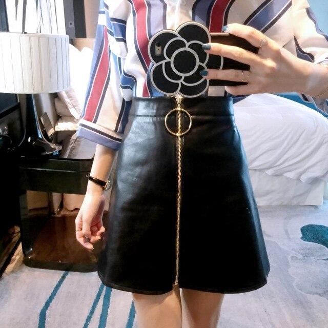 Nueva Llegada de La Manera Anillo de Metal Cremallera Cuero de LA PU Falda de Cintura Alta Una Línea de Falda de Cuero de Imitación Rojo Vino