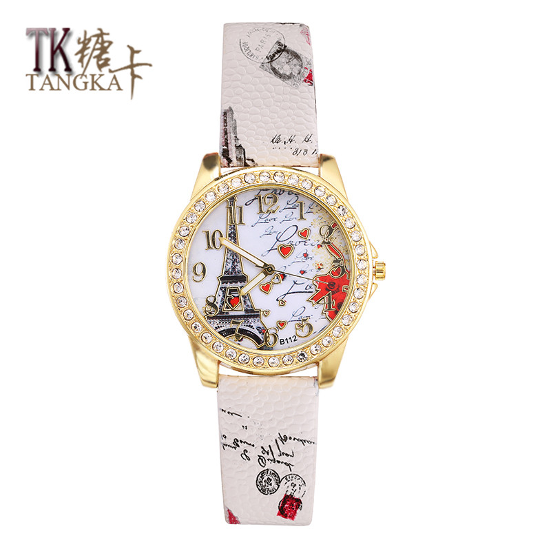 Best Deal Quartz Watch Women Fashion Tower Pattern Diamond Dial Watches Men Faux Leather Watch Women's Dress Clock Montre Relo quartz watch with small diamond dots indicate leather watch band hearts pattern dial for women