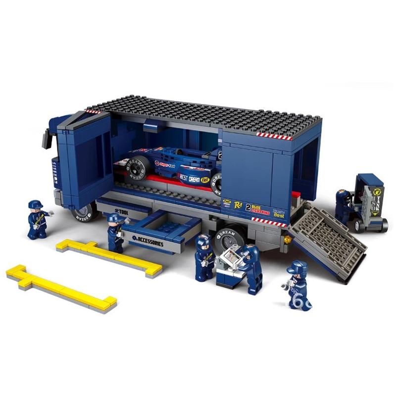 купить ABS 641Pcs Transporter Track Formula Car Race Preschool Educational Assembling Blocks Kid Children Toys дешево