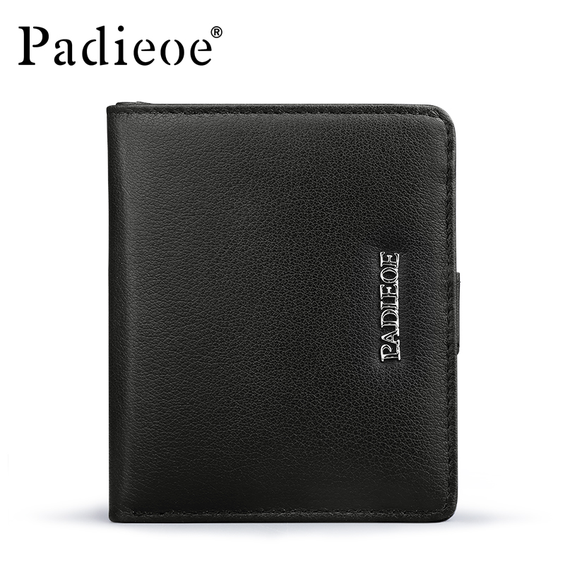 Padieoe New Fashion Genuine Leather Men Wallets Business Mini Purse Card Holder with Zipper Coin Pocket