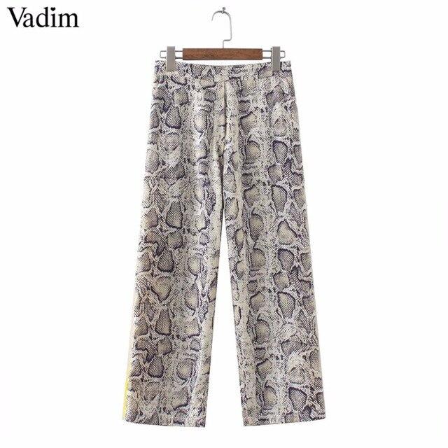 Vadim women side striped snake skin pattern pants elastic waist pockets ladies casual streetwear fashion trousers mujer KA252