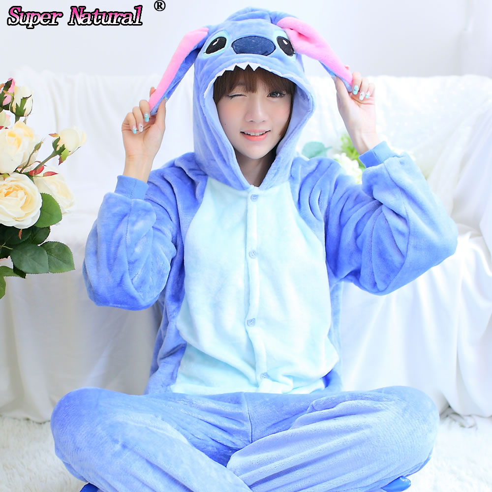 2c773e003e HKSNG Winter Women Adult Animal Pink Blue Stitch Pajamas Flannel Onesie  Cosplay Homewear Christmas Pyjamas With Zipper