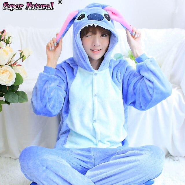 HKSNG Winter Women Adult Animal Pink Blue Stitch Pajamas Flannel Onesie  Cosplay Homewear Christmas Pyjamas With Zipper ba58720600277