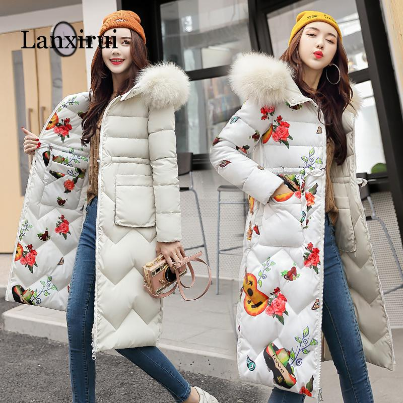2019 Fashion Winter Jacket Women Slim Solid Fur Hooded Both Two Sides Wear Ladies Long   Parkas   Jacket Thick Warm Coat Plus Size