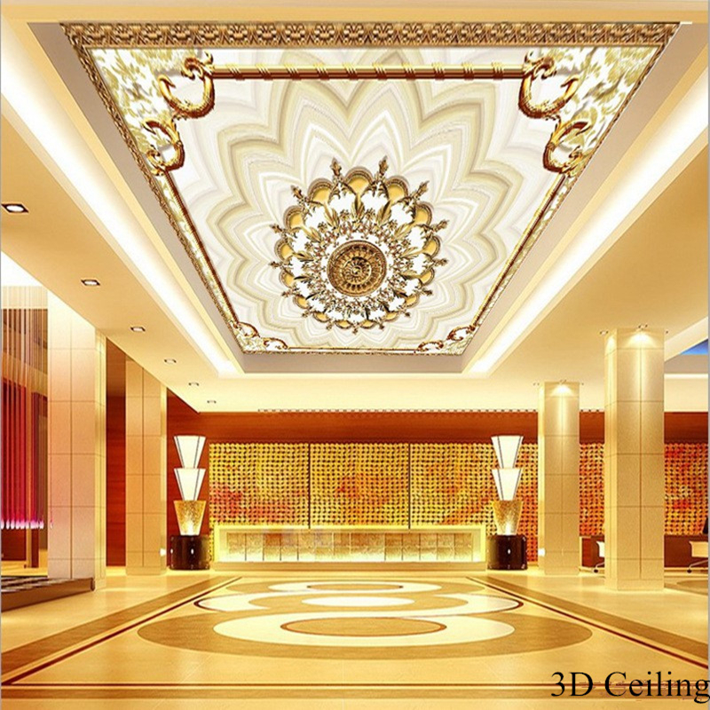 European 3D Ceiling Murals Custom Large Luxury Wallpapers For Living Room Floral Murals Wallpapers Home Decor Stretch CeilingEuropean 3D Ceiling Murals Custom Large Luxury Wallpapers For Living Room Floral Murals Wallpapers Home Decor Stretch Ceiling