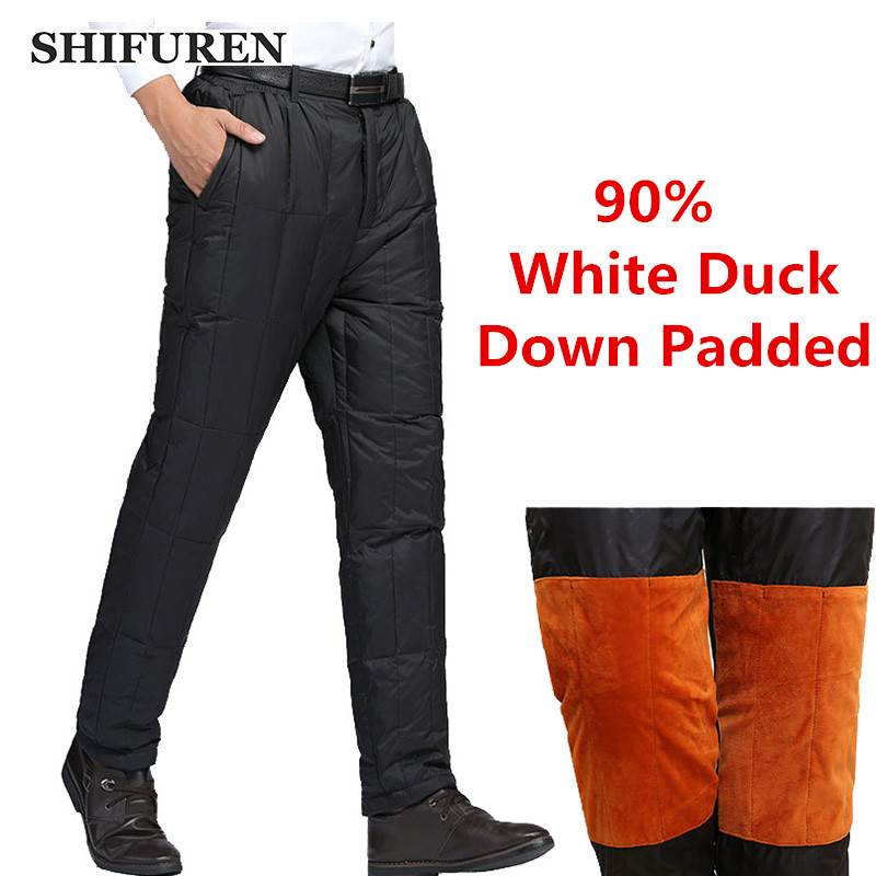 SHIFUREN Winter Warm Men's Down Padded Pants Loose Fit Elastic Waist Causal Male Thicken Duck Down Trousers Oversized S-6XL