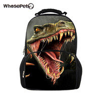 WHOSEPET Big Student Backpack Dinosaur 3D Printing Backpacks Travel Bags for Teenagers School Bags Colleage Shoulderbags