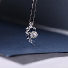 DOUBLE-RING Women's Pendant Fancy Design Female Jewelry 0.11ct H/SI Diamond Pendant  18K White Gold With Silver Chain CAP01690A