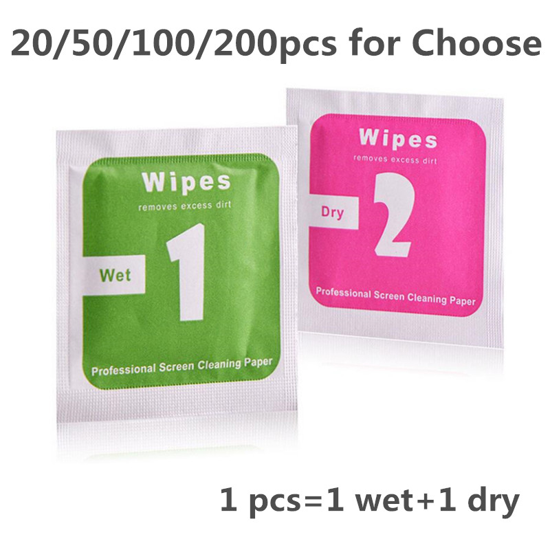 20/50/100/200pcs/lot Wet+ Dry Camera Lens LCD Screen Protector Dust Removal Wet Dry Dust Cleaning Cloth Wipe Paper For Phone/DV