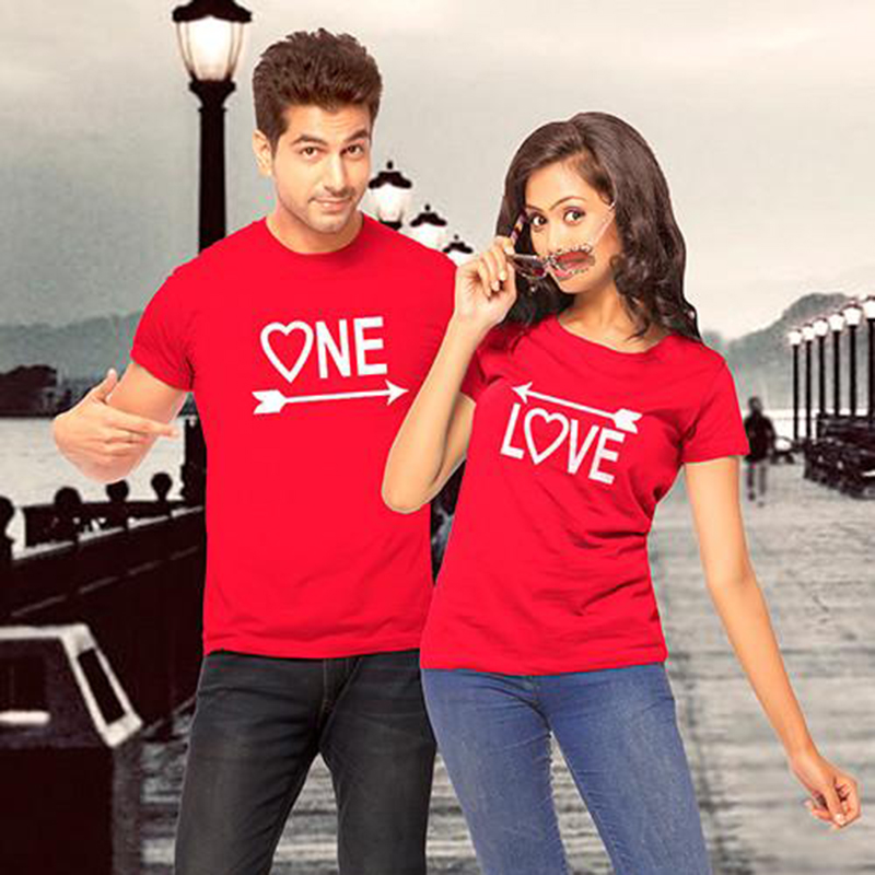 Couple T Shirt for Lovers One Love Arrows To Each Other Graphic Tees Couple Clothes Short Sleeve Unisex T-shirt