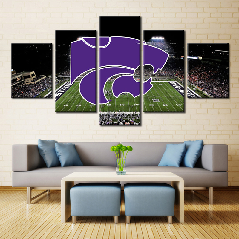 5 Pieces Kansas State Wildcats Stadium Painting Canvas Wall Art Picture Home Decoration Living Room Print Modern In Calligraphy