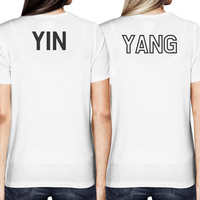 Asian Yin and Yang Matching Best Friend BFF Women White T shirt Back Print Casaul T Shirt Harajuku Fashion Tops Tee Shirt Femme