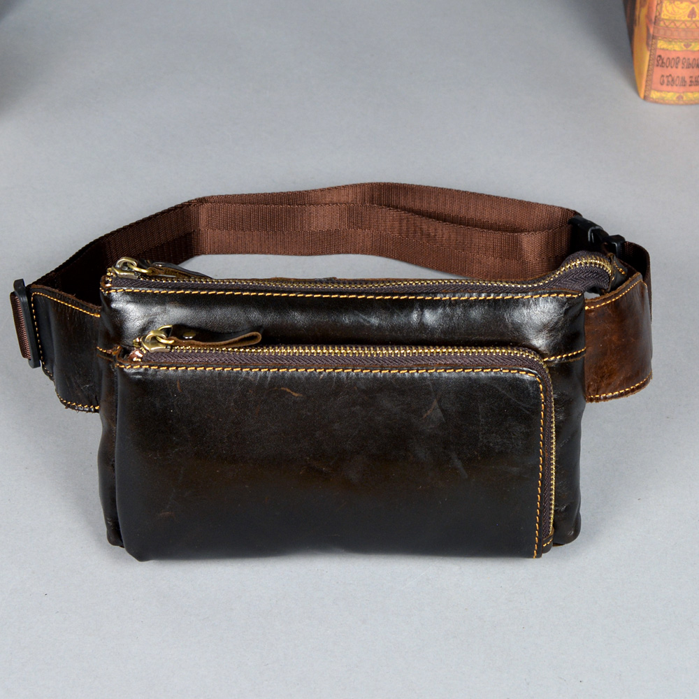 Vintage Men Belt Waist Packs Genuine Leather Waist Bags Travel Male Shoulder Messenger Bag Phone Pouch Fanny Pack Chest Bags