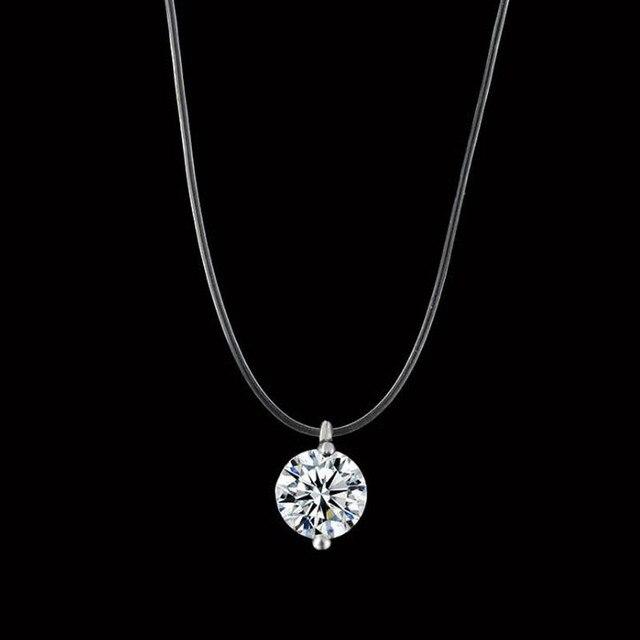Nữ Dây Câu Trong Suốt Dòng Vòng Cổ Bạc Vô Hình Chuỗi Vòng Cổ Phụ Nữ Rhinestone Vòng Cổ Vòng Cổ Collier Femme