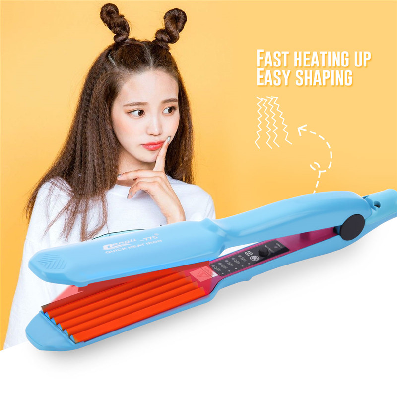 CkeyiN 110V-240V Temperature Adjustable Corrugated Hair Crimper Corn Plate Corn Perm Splint Hair Curler Salon Styling Tools 34