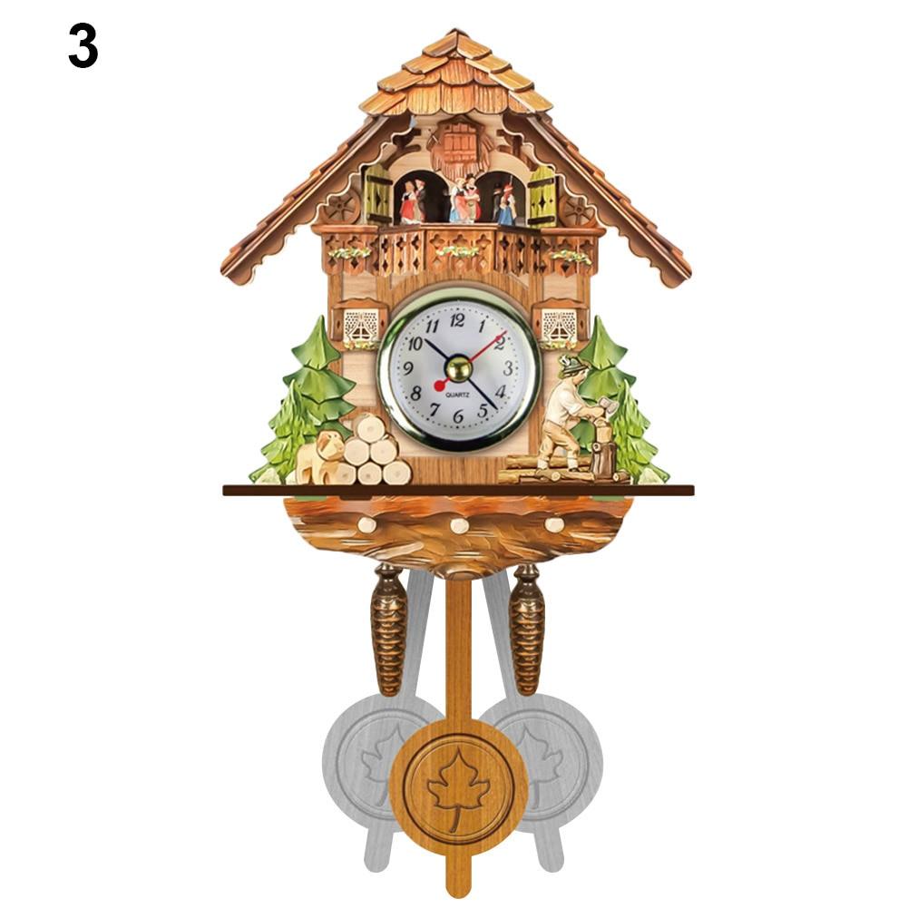 Antique Wooden Cuckoo Wall Clock Bird Time Bell Swing Alarm Watch Home Art Decor UYT Shop