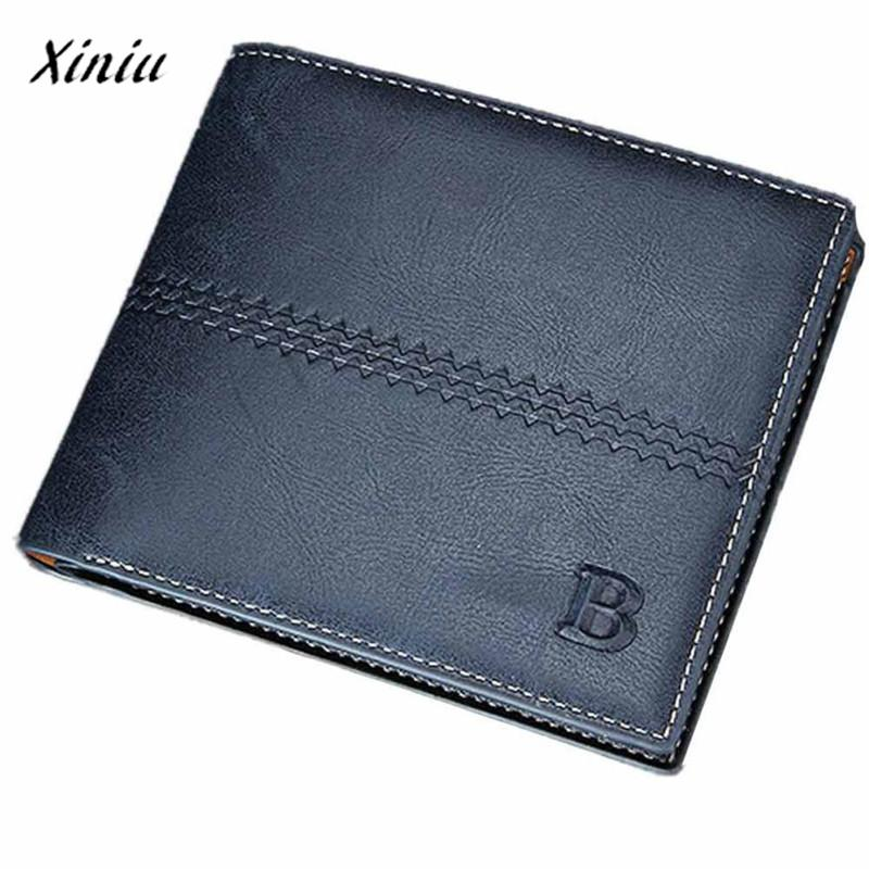 Mens Fashion Leather ID Card Holder Billfold Purse Wallet Men Wallets Purse Carteira masculina Billetera hombre portefeuille femme carteira masculina leather wallet mini wallets monedero hombre porte monnaie homme mens wallets small