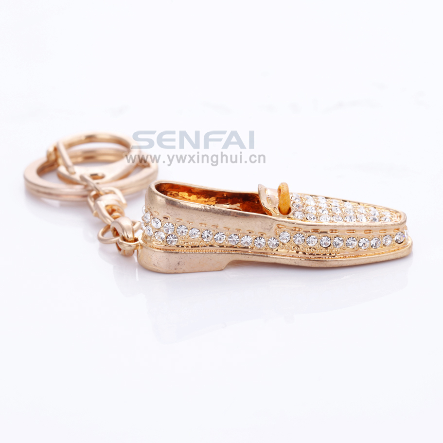 2014 New Design Novelty Shoes Shape Keychain Accessories Crystal Men Shose Key ring chains for hot selling