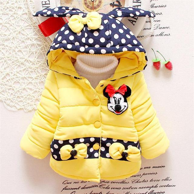 High quality Children Coat Minnie Baby Girls winter Coats girl's warm Baby jacket Winter Outerwear Thick Kids Hooded